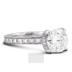 2 3/4 Ct D Si2 Round Cut Earth Mined Certified Diamonds 18k Gold Sidestone Ring