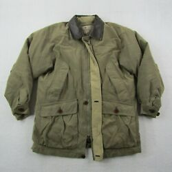 Rainforest Jacket Adult Small Men Green Full Zip Down Lined Cargo Thick Warm