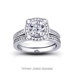 0.94ct G-vs2 Round Natural Certified Diamonds 14k Halo Ring With Matching Band