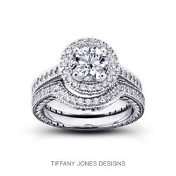 1.09ct F-vs2 Round Natural Certified Diamonds 14k Halo Ring With Wedding Band