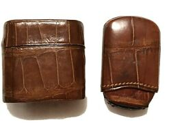 2 Quality Leather Match Safe Cases, One Push Button To Open Lid Other Pull Out