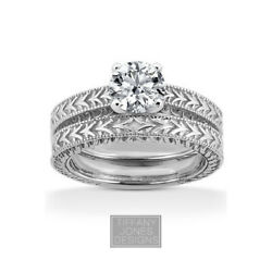 1/2ct F Vs2 Round Natural Diamond 18k Vintage Style Ring With Wedding Band