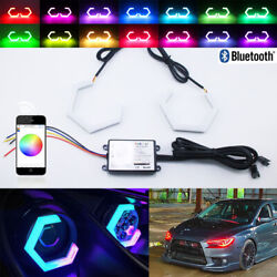 Hex Halo Rings Rgb Bluetooth Control Angel Eyes Car Motorcycle Projector 90mm
