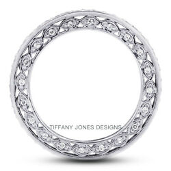 0.61ct G-si2 Round Natural Certified Diamonds 18k Vintage Style Eternity Band