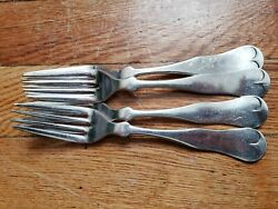4 Antique Vintage Collectible Forks 7 Reed And Barton Silver Plate-pat.1867