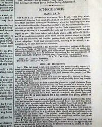 Historic New Fundamental Rules Of Baseball Laws For Convention Of 1857 Newspaper