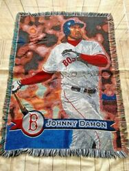 Johnny Damon Boston Red Sox Mlb 40x 55 Woven Tapestry Throw Blanket Used