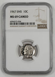 1967 Sms Roosevelt Dime 10c Ngc Certified Ms 69 Mint State Unc - Cameo 004
