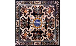 Corridor Decorative Design Dining Marble Top Table Inlaid Intricate Stone H5632