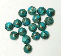 13x13 Mm Top Blue Copper Turquoise Round Loose Cabochon Flatback Gemstone Dc-185