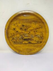 Vintage Lithograph Printed Elephants In The Forest Serving Round Tin Metal Tray