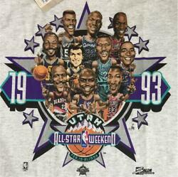 Vintage 90s 1993 Nba All Star Unused With Tag Tee T Shirt M Gray Salem Very Rare