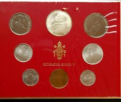 Vatican 1967 Paul Vi 8 Coin Uncirculated Sets Year V Silver 500 Lire- Lira Med82