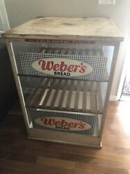 Antique Advertising Weber's Bread Sign Glass Display 30x30x42 In Not Porcelain