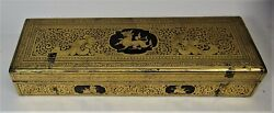 Fine 14 Burmese Gilt And Black Lacquer Glove Box C. 1930 Hand-painted Antique