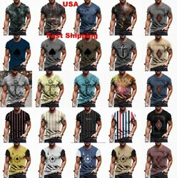 T-shirt Men Vintage Cool Graphic Print Active Wear Fitness Sport Soft Tee Shirts