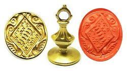 17th-18th Century Stuart Armorial 18k Gold Fob Seal Of Lady Jenkinson Of Walton