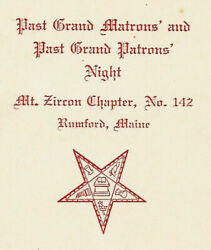 1965 Card-mt. Zircon Chapter No. 142-rumford Maine-past Grand Matrons And Patrons