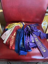 90+ Antique 1930s 40s Walworth County Fair Ribbons Lot Vintage Elkhorn Wi