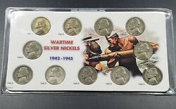 1942 - 1945 Pds Ww2 Wartime Silver Jefferson Nickel Circulated 11 Coin Set