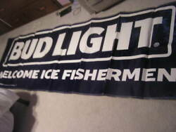 Large Budweiser Bud Light Ice Fishing Banner Sign Beer Man Cave Pennants Rod