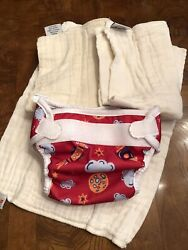 Bummis Snap Red Cloth Diapers X 3 And Cover Size Medium 15-30 Lbs Rockets Space