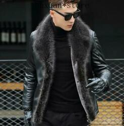 Mens Fur Lined Real Leather Coat Overcoat Parka Business Jacket Winter S-5xl Hot