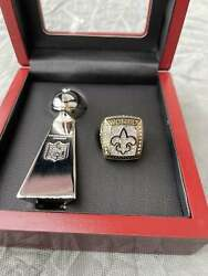 2009 New Orleans Saints Super Bowl Brees Ring And Vince Lombardi Trophy Set