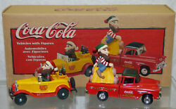 1998 Coca Cola North Pole Bottling Works 2 Vehicles W/ Figures In Box Ertl New
