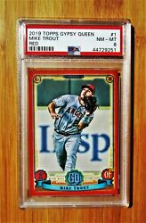 2019 Topps Gypsy Queen 1 Red /10 Mike Trout Angels Psa 8