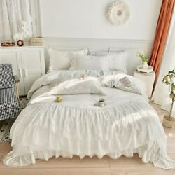 Exquisite Ruffles Elegant Double Layers Lace Fringe Premium Bedding Set 4pcs
