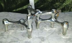 Set Of 3 Mcm Mid Century Nagel Style Chrome Brass Stacking Candle Holders