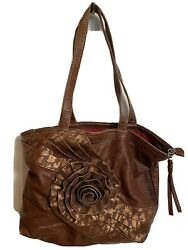 Red By Marc Ecko Women's Shoulder Bag Handbag Faux Leather brown gold Flower $8.97