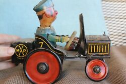 Vintage Marx Wind Up Beat It The Komikal Cop Crazy Car Working 1930and039s