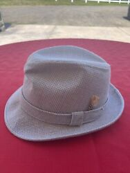Vtg Dobbs Fifth Avenue New York Mens Houndstooth Gray Feather Hat Fedora 7 1/2