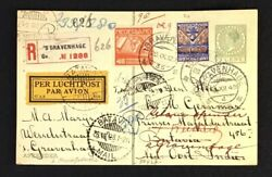 Netherlands 1928 Reg Airmail Post Card To Redirected - Vice Versa --vf