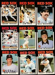 1986 Topps Team Lot Of 28 Boston Red Sox Nm/mt Boggs Rice Dewey Oil Can