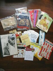Huge Lot Vintage Sewing Patterns, Magazine, Aunt Martha's Transfers And More