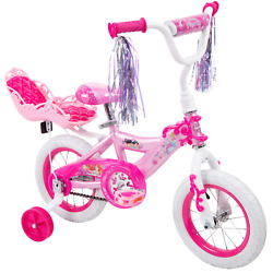 Disney Princess Girlsand039 12 Bike With Doll Carrier Streamers And Training Wheels
