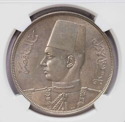 Ngc-ms62 Ah1358 1939 Egypt 20piastres Silver Unc