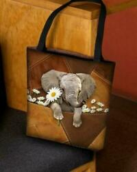 Cute Elephant With Daisy Pattern Basketweave Tote Bags $30.99