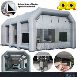 Sewinfla 39x20x13ft Large Inflatable Paint Booth Portable Car Tent 2 Blowers Us