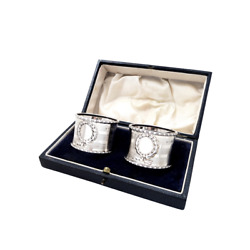 Pair Of Antique Sterling Silver Napkin Rings In Case 1912