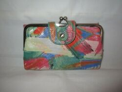 Hobo Multicolored Women#x27;s Bi Fold Wallet w Large Coin Compartment $9.50