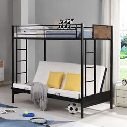 Twin Over Full Metal Bunk Bed Frame Futon Bed Sofa Bed Bedroom Furniture For Kid