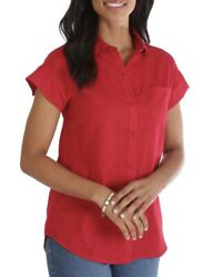 Lee Riders Small Women#x27;s Red Short Sleeve Woven Shirt NEW SEALED $5.95