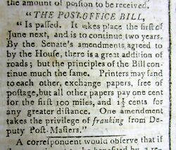 1792 Newspaper Us Post Office Act Passed To Be Signed By George Washington