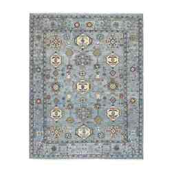 7and0399x9and0399 Blue Peshawar With Karjihooz Design Wool Hand Knotted Rug R55199