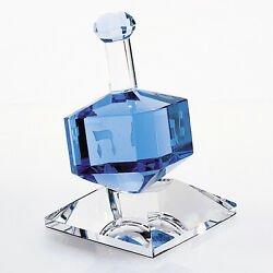 3 Mouth Blown Blue Dreidel On Crystal Stand