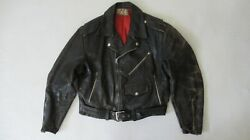 Vintage 50and039s Leather Biker Jacket By Windward Montgomery Wards